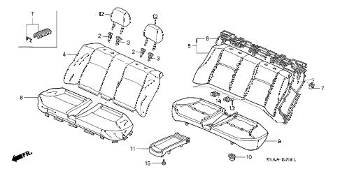 2004 civic GX(ABS SIDE SRS) 4 DOOR CVT REAR SEAT (2) diagram