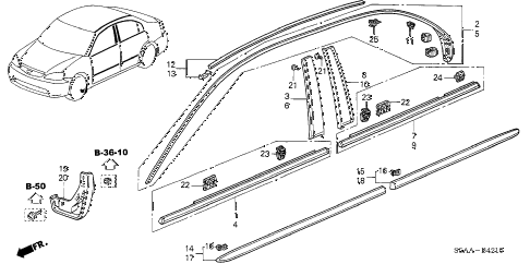 2004 civic GX(ABS SIDE SRS) 4 DOOR CVT MOLDING - PROTECTOR diagram