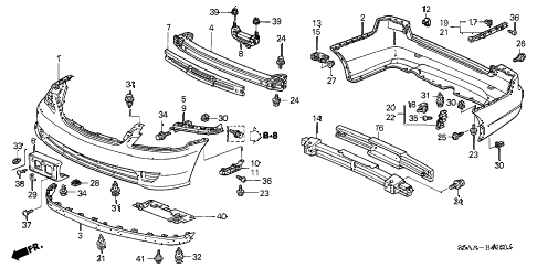 2004 civic EX(SIDE SRS) 4 DOOR 5MT BUMPERS diagram