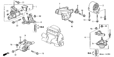 2004 civic EX(SIDE SRS) 4 DOOR 5MT ENGINE MOUNTS (MT) diagram