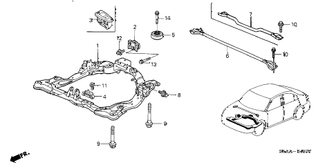 2004 civic DX-VP(VP SIDE SRS) 4 DOOR 5MT FRONT SUB FRAME diagram