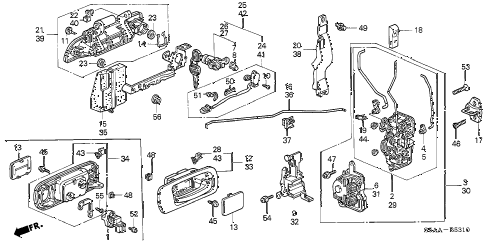 2004 civic DX 4 DOOR 4AT FRONT DOOR LOCKS - OUTER HANDLE diagram