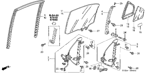 2004 civic DX(SIDE SRS) 4 DOOR 4AT REAR DOOR WINDOWS - DOOR REGULATOR diagram