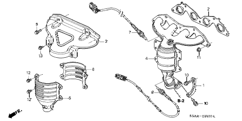 2004 civic GX(ABS SIDE SRS) 4 DOOR CVT EXHAUST MANIFOLD (SOHC) diagram