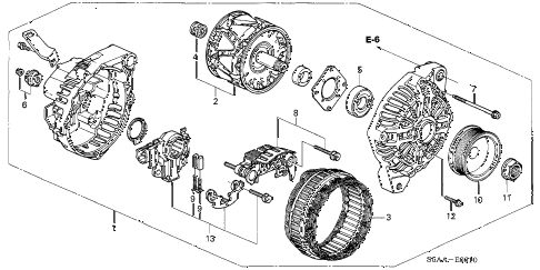 2004 civic DX(SIDE SRS) 4 DOOR 4AT ALTERNATOR (MITSUBISHI) diagram
