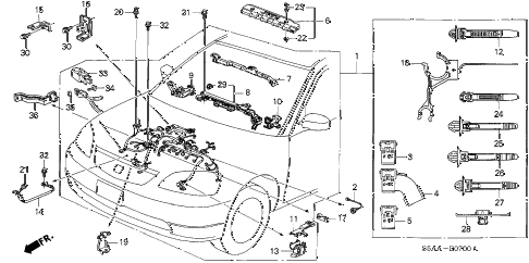 2004 civic DX-VP(VP SIDE SRS) 4 DOOR 5MT ENGINE WIRE HARNESS diagram