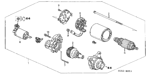 2004 civic DX 4 DOOR 4AT STARTER MOTOR (MITSUBA) diagram