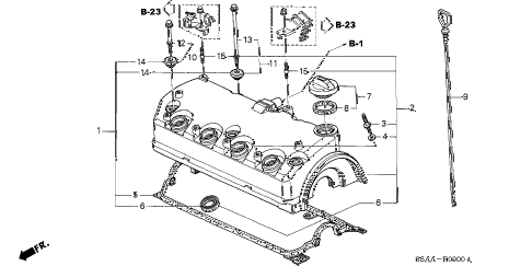 2004 civic DX(SIDE SRS) 4 DOOR 4AT CYLINDER HEAD COVER diagram