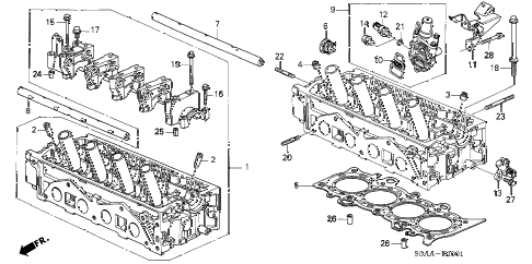 2004 civic EX(SIDE SRS) 4 DOOR 4AT CYLINDER HEAD (VTEC) diagram
