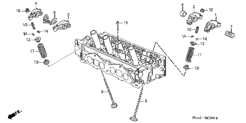 2004 civic DX(SIDE SRS) 4 DOOR 4AT VALVE - ROCKER ARM (SOHC) diagram