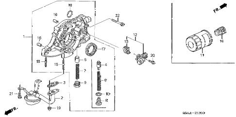 2004 civic DX(SIDE SRS) 4 DOOR 4AT OIL PUMP - OIL STRAINER diagram