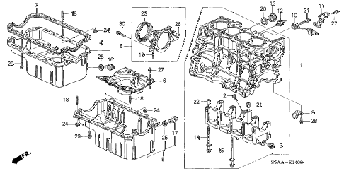2004 civic GX(ABS SIDE SRS) 4 DOOR CVT CYLINDER BLOCK - OIL PAN diagram