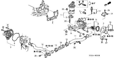 2004 civic EX 4 DOOR 5MT WATER PUMP - SENSOR (1) diagram
