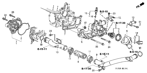 2004 civic GX(ABS SIDE SRS) 4 DOOR CVT WATER PUMP - SENSOR (2) diagram