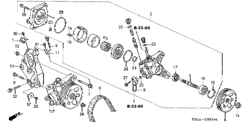 2004 civic DX(SIDE SRS) 4 DOOR 4AT P.S. PUMP - BRACKET diagram