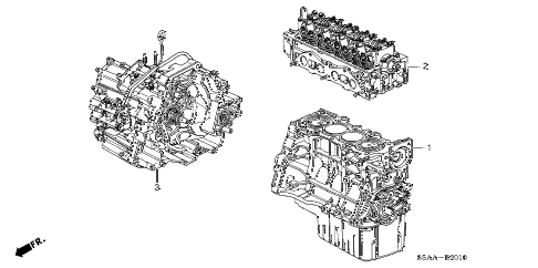 2004 civic EX(SIDE SRS) 4 DOOR 5MT ENGINE ASSY. - TRANSMISSION ASSY. diagram