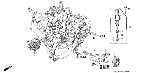 2004 civic EX(SIDE SRS) 4 DOOR 5MT MT CLUTCH RELEASE diagram