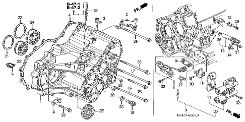 2005 civic LX(SIDE SRS) 4 DOOR 4AT AT TRANSMISSION CASE diagram
