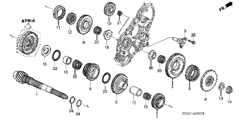 2005 civic LX 4 DOOR 4AT AT COUNTERSHAFT diagram