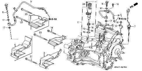 2005 civic EX(SIDE SRS) 4 DOOR 4AT AT ATF PIPE - SPEED SENSOR diagram