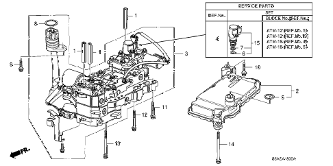 2005 civic GX(ABS) 4 DOOR CVT CVT VALVE BODY (CVT) diagram