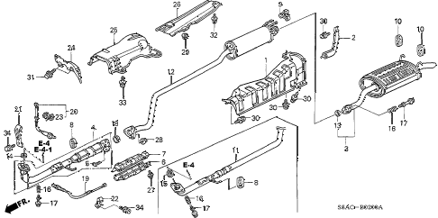 2005 civic EX(SPECIAL EDITIO 4 DOOR 5MT EXHAUST PIPE - MUFFLER diagram