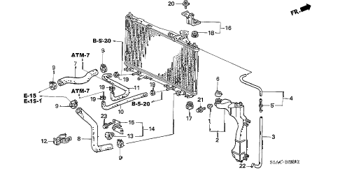 2005 civic EX(SPECIAL EDITIO 4 DOOR 5MT RADIATOR HOSE - RESERVE TANK diagram