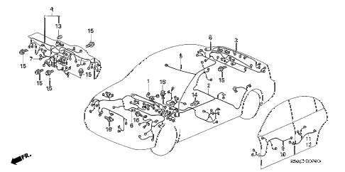 2005 civic GX(ABS/SIDE SRS) 4 DOOR CVT WIRE HARNESS diagram