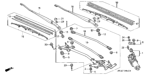 2005 civic DX(AIR CONDITIONE 4 DOOR 5MT FRONT WINDSHIELD WIPER diagram