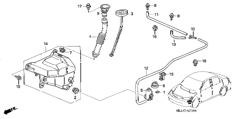 2005 civic LX 4 DOOR 5MT WINDSHIELD WASHER (1) diagram
