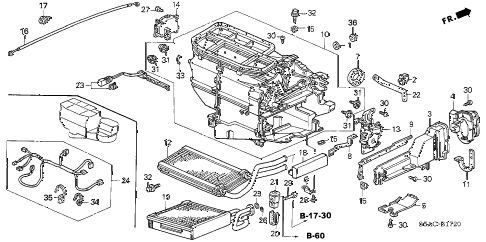 2005 civic DX(AIR CONDITIONE 4 DOOR 5MT HEATER UNIT diagram