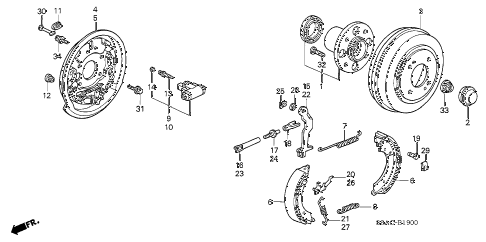 2005 civic GX(ABS) 4 DOOR CVT REAR BRAKE (1) diagram