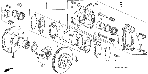 2005 civic LX 4 DOOR 4AT FRONT BRAKE diagram