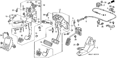 2005 civic LX 4 DOOR 5MT PEDAL diagram