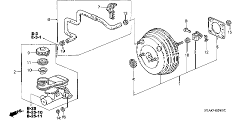 2005 civic LX(SIDE SRS) 4 DOOR 4AT BRAKE MASTER CYLINDER  - MASTER POWER (1) diagram