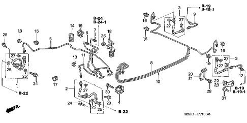 2005 civic DX(AIR CONDITIONE 4 DOOR 5MT BRAKE LINES diagram