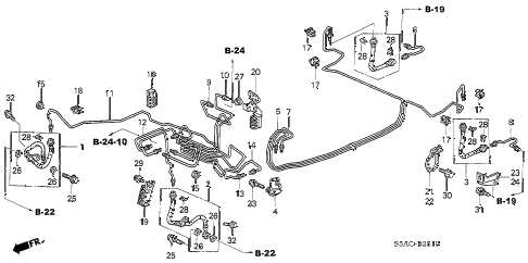 2005 civic EX(SIDE SRS) 4 DOOR 4AT BRAKE LINES (ABS) (1) diagram