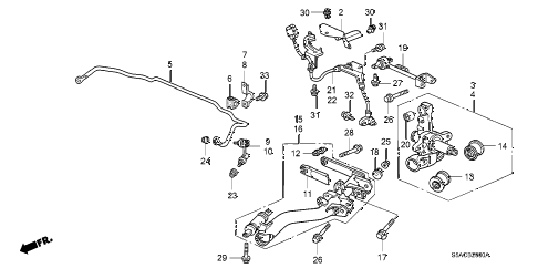 2005 civic DX(AIR CONDITIONE 4 DOOR 4AT REAR LOWER ARM diagram