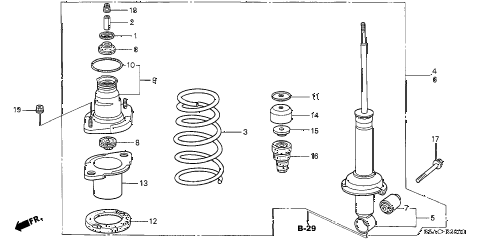 2005 civic DX(AIR CONDITIONE 4 DOOR 4AT REAR SHOCK ABSORBER diagram