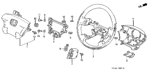 2005 civic LX 4 DOOR 4AT STEERING WHEEL (SRS) (1) diagram