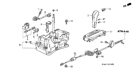 2005 civic LX(SIDE SRS) 4 DOOR 4AT SELECT LEVER (1) diagram