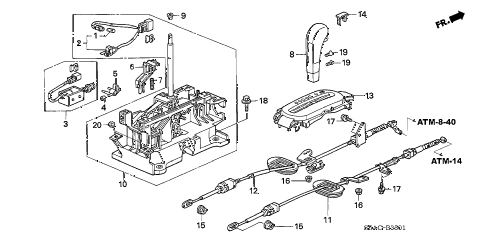 2005 civic GX(ABS) 4 DOOR CVT SELECT LEVER (2) diagram