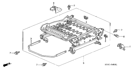 2005 civic DX(AIR CONDITIONE 4 DOOR 4AT FRONT SEAT COMPONENTS (L.) (1) diagram