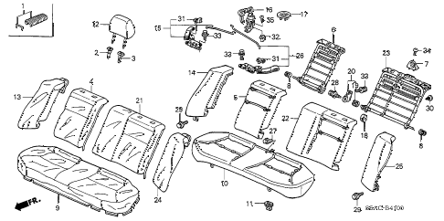 2005 civic LX(SIDE SRS) 4 DOOR 4AT REAR SEAT (1) diagram