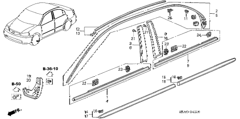 2005 civic LX(SPECIAL EDITIO 4 DOOR 5MT MOLDING - PROTECTOR diagram