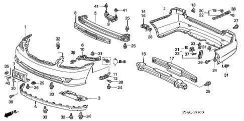 2005 civic LX 4 DOOR 4AT BUMPERS diagram