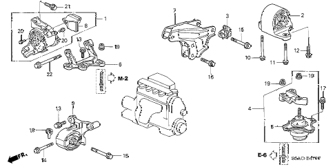 2005 civic LX 4 DOOR 5MT ENGINE MOUNTS (MT) diagram