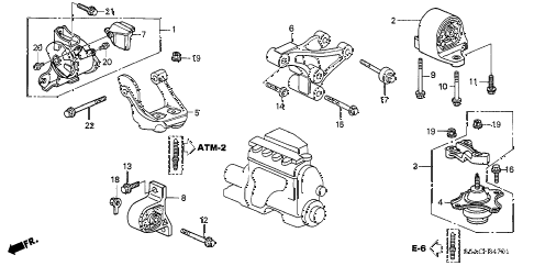 2005 civic LX(SPECIAL EDITIO 4 DOOR 4AT ENGINE MOUNTS (AT) (1) diagram