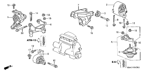 2005 civic GX(ABS/SIDE SRS) 4 DOOR CVT ENGINE MOUNTS (CVT) diagram