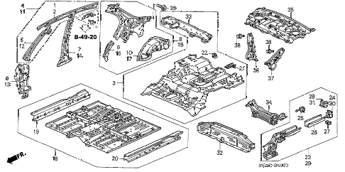2005 civic EX(SIDE SRS) 4 DOOR 4AT INNER PANEL - FLOOR PANELS (1) diagram